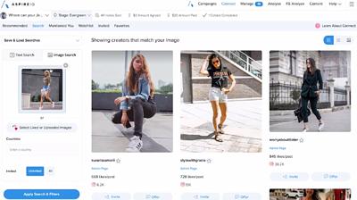 AspireIQ enables marketers to use visual search to find similar photos or influencers